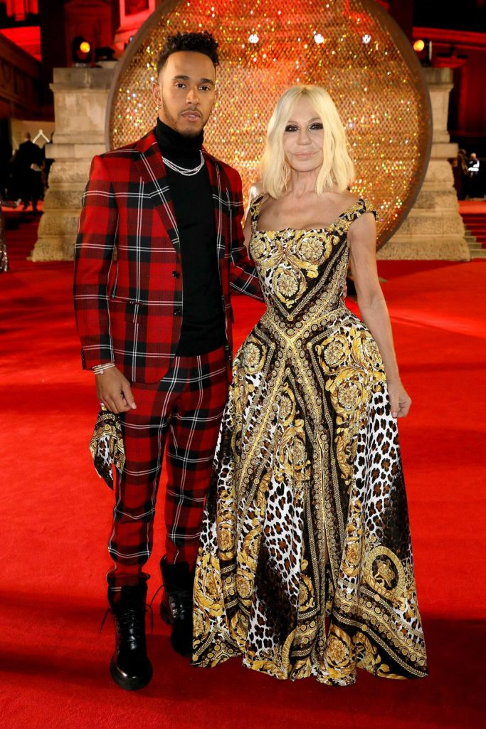 Lewis Hamilton and Donatella Versace